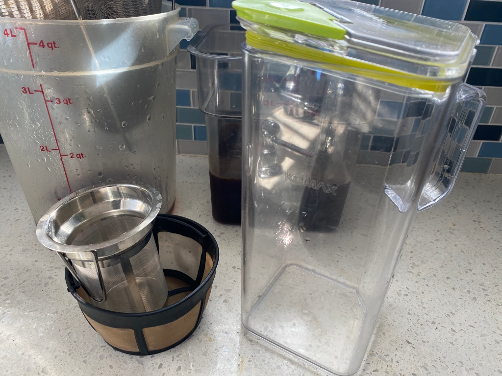 Pitcher, coffee filters, and storage containers.